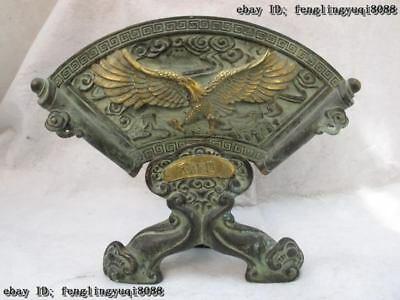 Chinese Classical Copper Bronze Gilt Royal Palace Fly wing Eagle sector screen