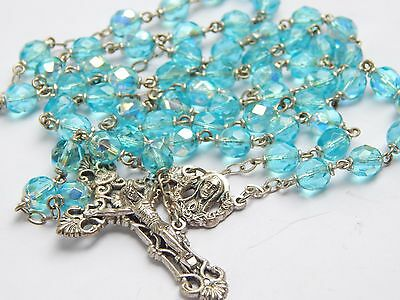 Vintage Aqua Lighter Blue Crystal Glass Bead Italy Ornate Crucifix Easter Rosary