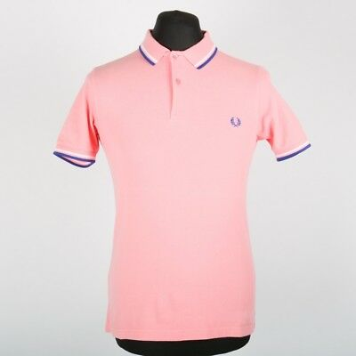 04d33b58f FRED PERRY Slim Fit Salmon Pink Twin Tipped Polo Shirt | Mens S | Vintage  Retro