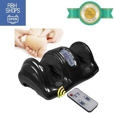 Black Electric Foot Massager Machine w/ Remote Control for Spa Kneading Rolling