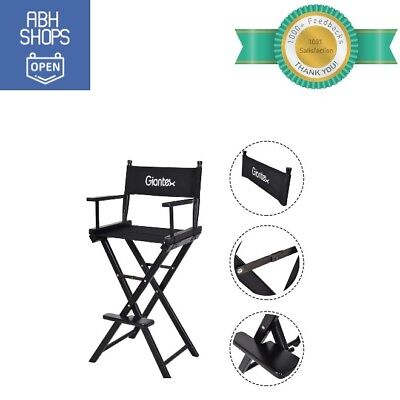 Portable Makeup Artist Chair Wooden Foldable Black Extra Tall Seat Height Great