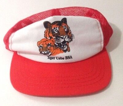 Vintage Tiger Cubs BSA Cub Scouts SnapBack Trucker Cap Size SM/M Made in USA