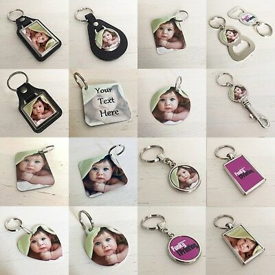 Personalised Photo Key Ring, Double Sided, Custom Gift,Any Image Logo Text Promo