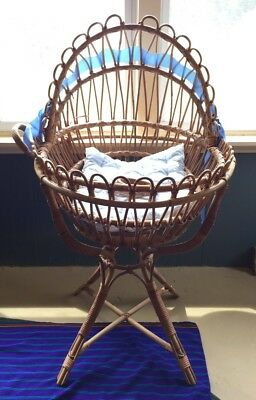 Antique Bentwood Rattan Wicker Baby Bassinet Cradle Albini Style Photo Prop