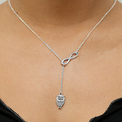 .925 Sterling Silver Plated Infinity Charm Lariat Adjustable Pendant Necklace