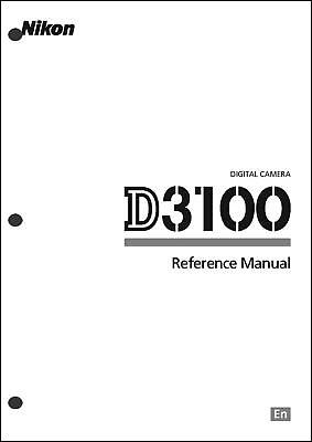 Nikon D3100 Instruction Owners Manual Book Original Brand NEW 201 Pages English