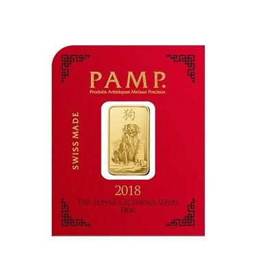 1 gram Gold Bar - PAMP Suisse Lunar Dog .9999 Fine (In Assay from Multigram+8)