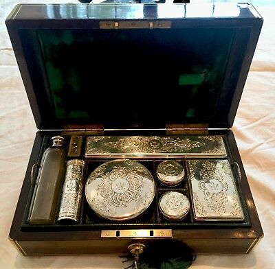 Superb Gents Dressing Box, Diminutive Campaign Style, Sterling & Rosewood, 1845