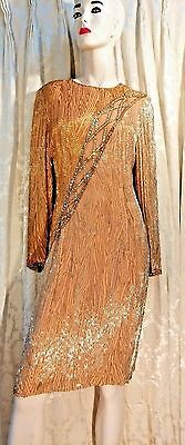 Bob Mackie Vintage Dress  Women Gold Sequined Bugle Beaded Retail $2000 Size 12