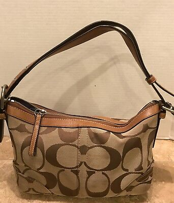 94f73c130f64 COACH SIGNATURE CARLY Handbag - Khaki Chocolate - Used Some Wear ...