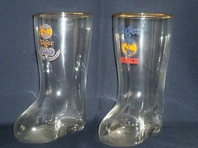 RARE !! Lot of 2 pcs Singapore Tiger beer gold rimmed small boot / foot glass