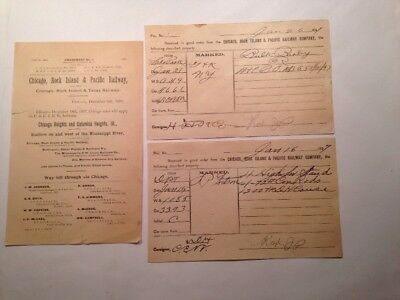 Chicago, Rock Island & Pacific Ry. 2 Freight Receipts and 1 Tariff Dated 1897