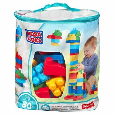 NEW Mega Bloks Building Toy First Big Builders Eco Bag 80 Pieces