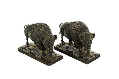 Pair of Antique Bronze American Buffalo Bookends c1900s