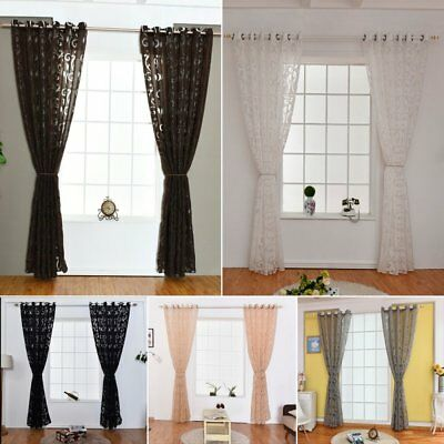 Floral Voile Window Curtain Blackout Tulle Curtain Living Room Drape Panel US