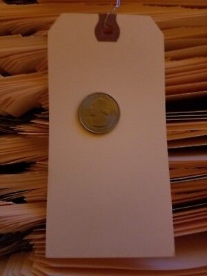 """100- 2-5/8"""" x 5-1/4"""" WIRED MANILA TAG HANG LABEL SHIPPING INVENTORY STOCK SIZE 6"""