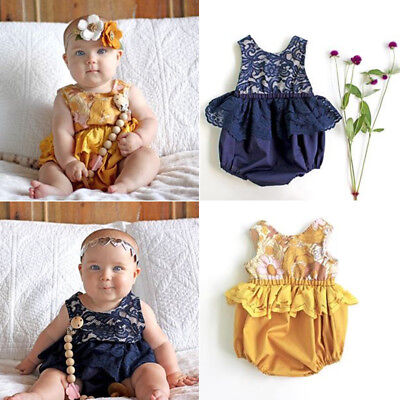 AU Newborn Baby Girls Kids Lace One-Piece Easter Romper Playsuit Bodysuit Outfit