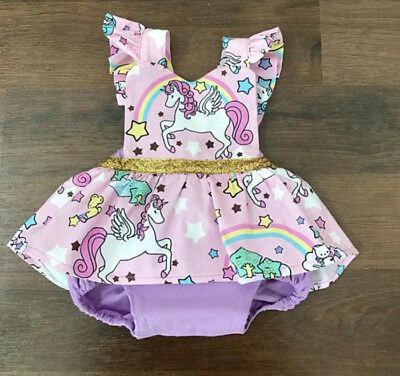 UK Stock Newborn Baby Girl Unicorn Romper Jumpsuit Dress Clothes Outfits Summer
