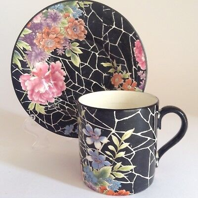 1920s BURSLEY WARE Black Crackle Chintz Cup Saucer & Frederick RHEAD Connection