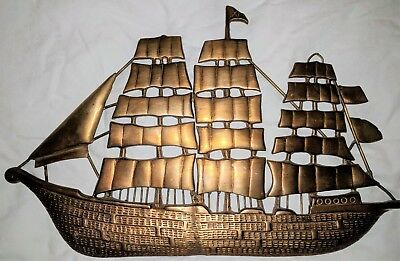 Vintage Brass Boat/Ship Shaped Wall Hanging Plaque Wall Decoration