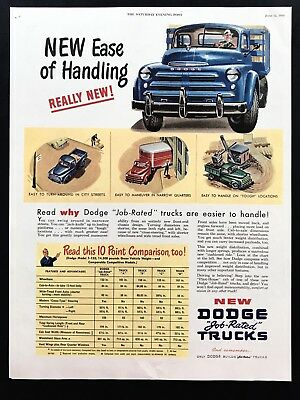 1948 Vintage Print Ad 40's Style DODGE Trucks Blue Hauling Vehicle Art
