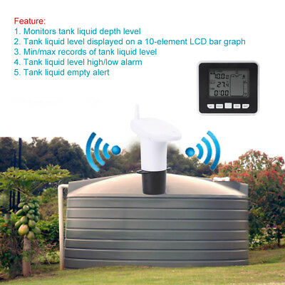 100m Wireless Ultrasonic Water Tank Liquid Level Meter w/Temperature Sensor inm