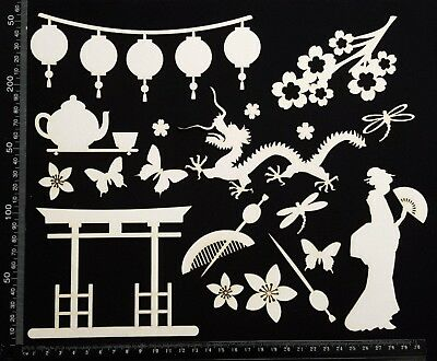 White Chipboard - Asian Elements - Set A