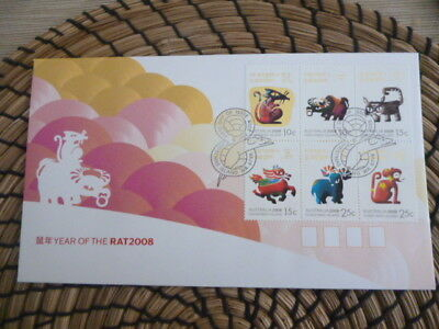 Christmas Island fdc 2008 Year of the Rat  mini sheet