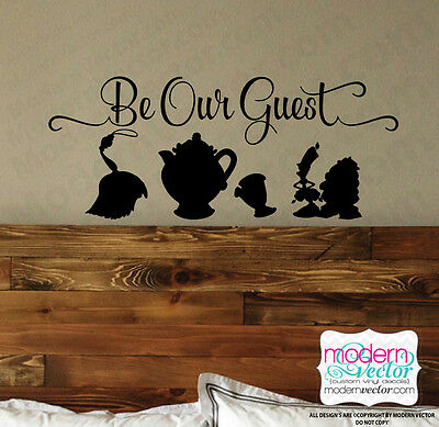 Beauty and the Beast Be Our Guest Quote Vinyl Wall Decal Sticker Disney Quote