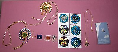 Large Lot Masonic Lapel Pins, Bolo Ties, Tie Tack, Decals / Stickers, Necklace