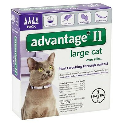 Advantage II   large cat over 9 lbs 4 pack USA EPA approved
