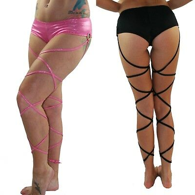 Hot Pants Booty Shorts with Attached Leg Wraps in Pink Hologram or Black