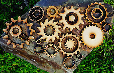 MDF Wood - Steampunk Elements - 25 pcs mixed wooden laser cut gears