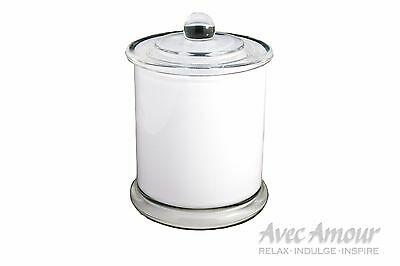 24 x candle danube metro jar large glassware white with knob lid