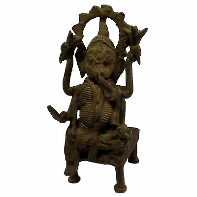 Real Antique Ganesha Statue Brass Wire Fine Work For Good Luck And Prosperity