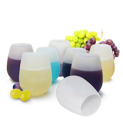 Safe Silicone Wine Glasses Outdoor Camping Stemless Unbreakable Party Cups 320ML