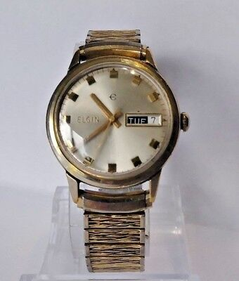 Vintage Elgin Men's Cal. 338 Swiss Made Mechanical Watch W/ Day/Date Cal 0181