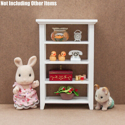 1:12 Miniature Wooden White Shelving 4-Tier Storage Furniture Bookcase Dollhouse