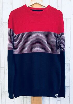Next Older Boys Red White Blue Jumper Knitwear Winter Spring Time 14 Years