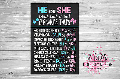 Chalkboard Pregnancy Announcement 'OLD WIVES TALES' Print