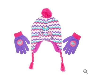 60b92c8db30 MY LITTLE PONY Knit Peruvian Winter Hat   Gloves Set w  Pom-Pom ...
