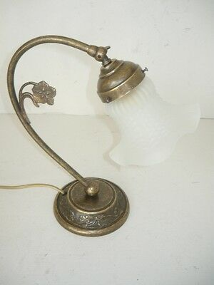 Lamp for Bedside Table Bedroom Brass Burnished Lampshade & Glass