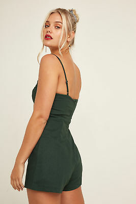 New PERFECT STRANGER Womens Taylor Playsuit Green