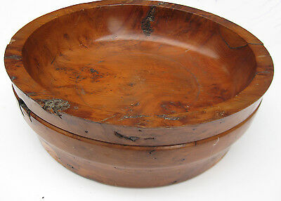 UNUSUAL Heavy Wooden Bowl Knurl Yew Hand-Turned Weird-Folk-Rustic Natural Occult