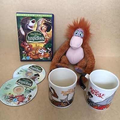 The Jungle Book Bundle Double DVD King Louie Plush Toy 2 Mugs Official Disney