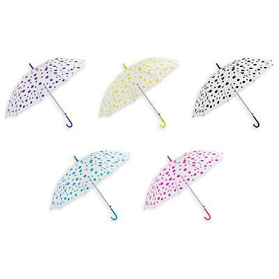 Children Kids Transparent Brolly PVC Colourful Umbrella Boys Girls Dots Design