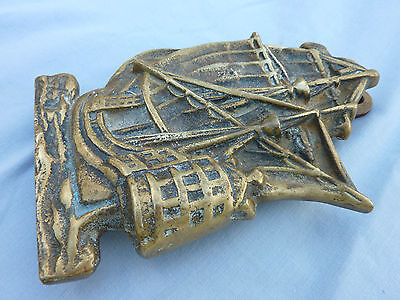 Vintage Original Old Large Heavy Brass Sailor Ship Galleon Boat Door Knocker