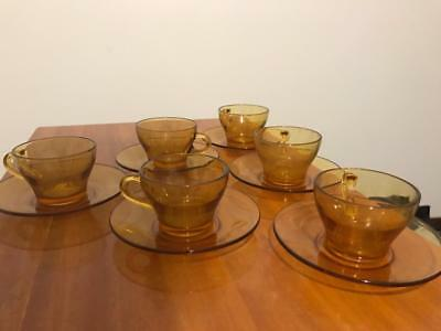 Yellow Glass Teacups w/ Saucers (1970's, set of 6)
