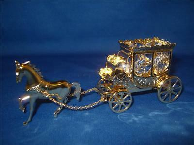 Gold Plated & Swarovski Crystal  Horse & Carriage BNIB