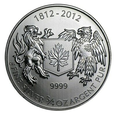 War of 1812 3/4 oz .9999 Fine Silver Coin Brilliant Uncirculated